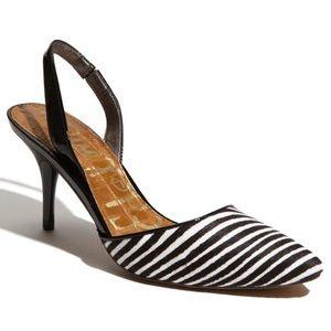 Sam Edelman Orly Calf Fur Zebra Slingback Heels